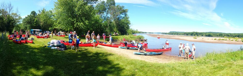 Arena canoe and kayak landing on the Wisconsin River