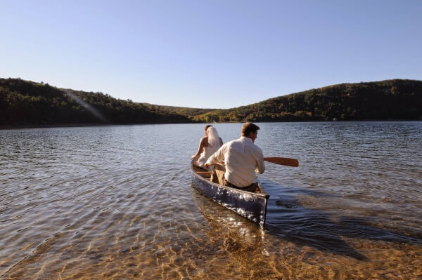 Canoe paddle after wedding at Devil's Lake