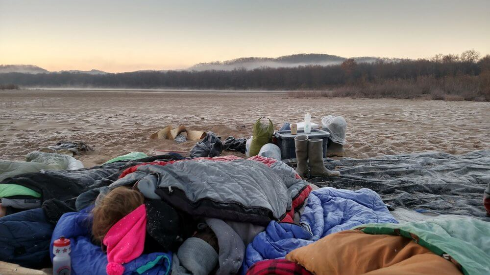 Cold weather camping on the Wisconsin River