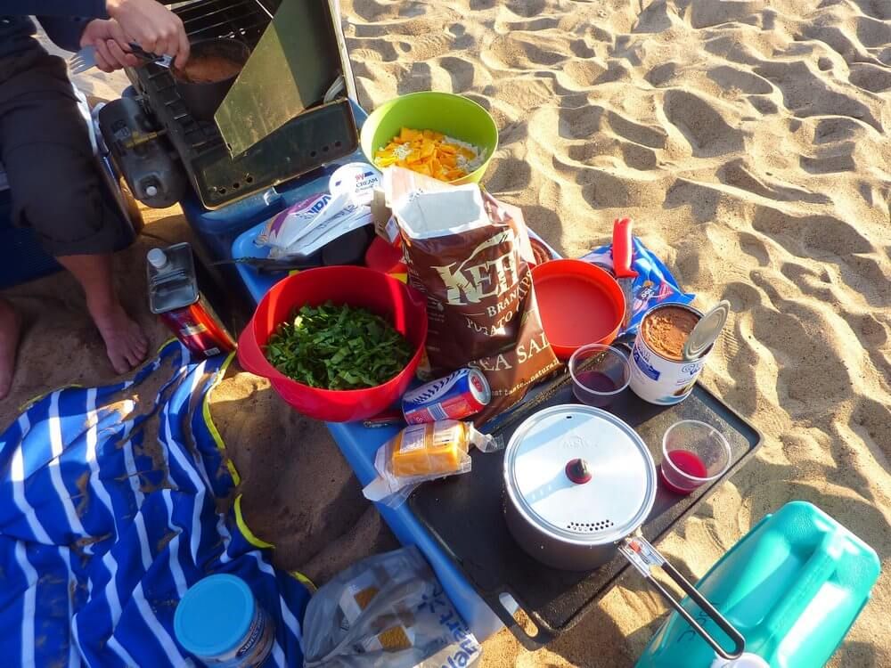 Wisconsin River sandbar camping food